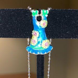 Jewelry - Vintage AJMC  Sundress enamel on metal necklace